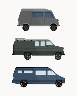 Collection of cartoon vans