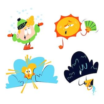 Collezione di personaggi del tempo dei cartoni animati