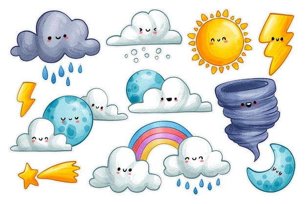 Collection of cartoon weather signs