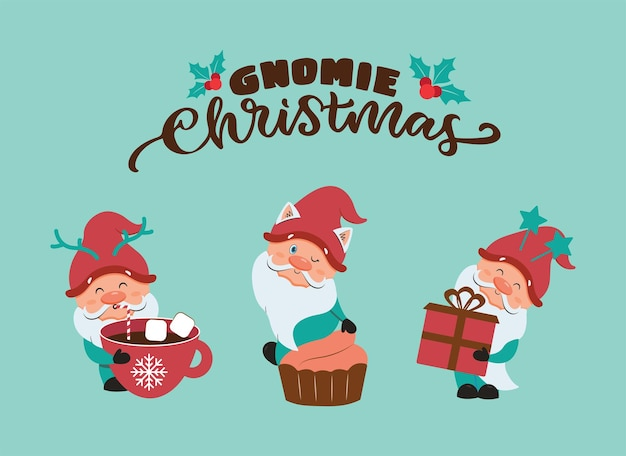 The collection of cartoonish gnomes with handwritten text the christmas and happy new year set
