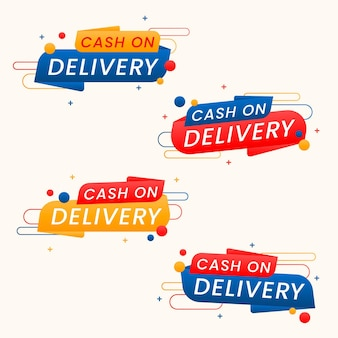Collection of cash on delivery badges