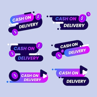 Collection of cash on delivery gradient violet labels
