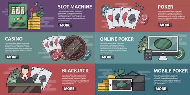 Collection of casino banners for decoration and websites. concept of poker online, slot machines and gambling. set of casino equipment and elements in line .