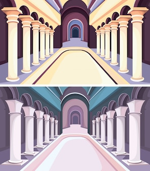 Collection of castle interiors. palace halls with columns.