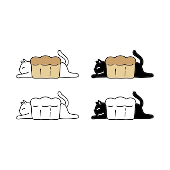 Collection of cat kitten bread bakery character