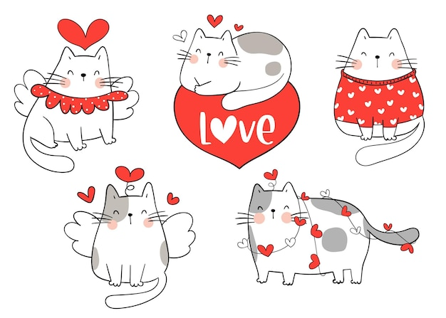 Collection cat for valentine's day. doodle cartoon style.