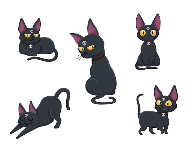 Collection of cats. concept cartoon cat in different poses. halloween elements set. vector clipart illustration isolated on white background
