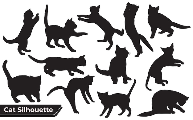 Collection of cats silhouette in different positions