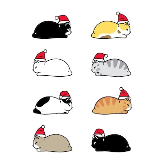 Collection of cats with santa claus hat character