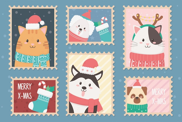 Collection celebration happy christmas stamps