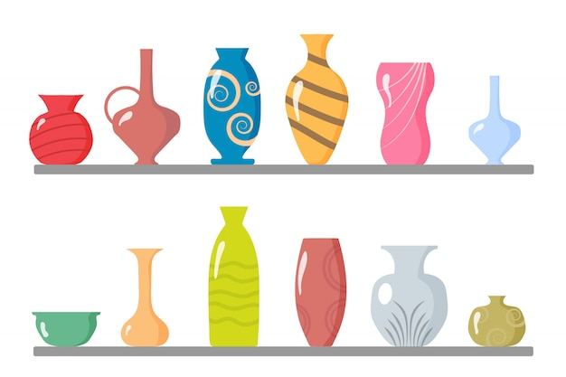 A collection of ceramic vases.kitchen utensils, clay bowls and pots.colored ceramic vases objects, antique cups with flowers, floral and abstract patterns.elements of the interior. illustration.