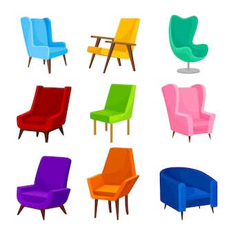 Collection of chairs in different shapes
