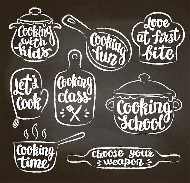 Collection of chalk textured contoured cooking