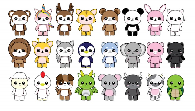 Collection character animals cute kawaii on white background