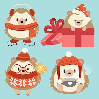 The collection of character of cute hedgehog wear a accessory in christmas theme set.