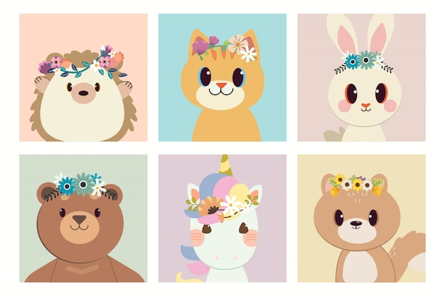 The collection of character of hedgehog cat rabbit bear unicorn and squirrel with the ring of flower.
