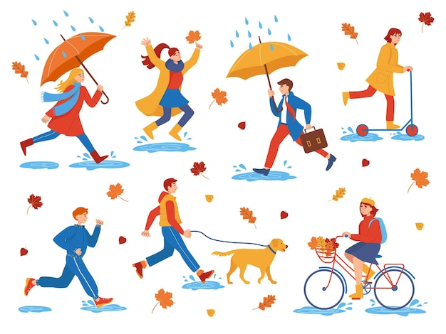 Collection of characters of flat people walking on an autumn day. autumn outdoor. people in the park walk with a dog, ride a bicycle and scooter, jump through puddles, run.