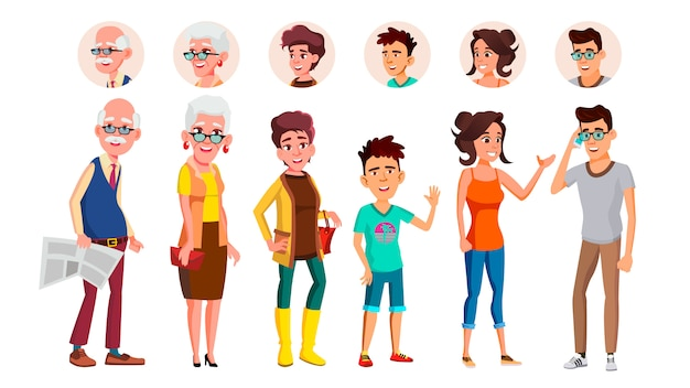 Collection of characters person people set