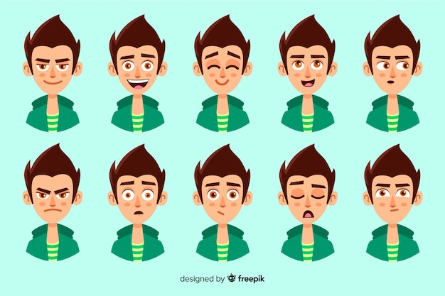 Collection of characters with different facial expressions