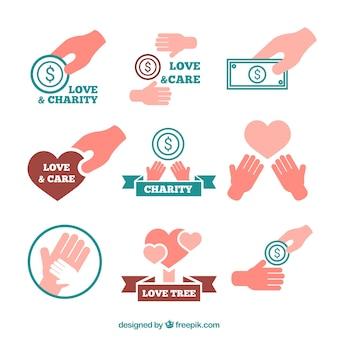 Raccolta di etichette carità di mani