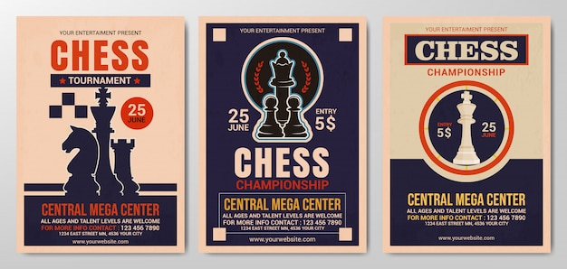 Collection of chess tournament flyer template