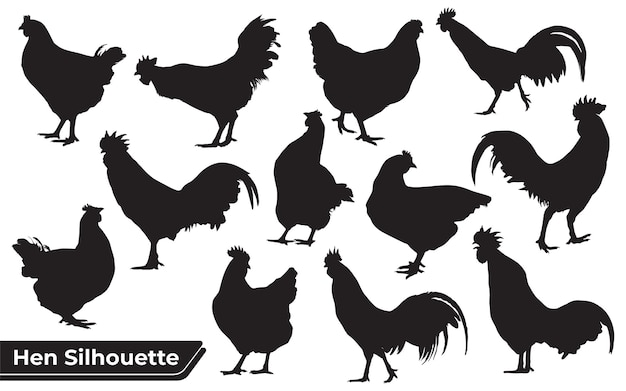 Collection of chicken or hen silhouettes in different poses