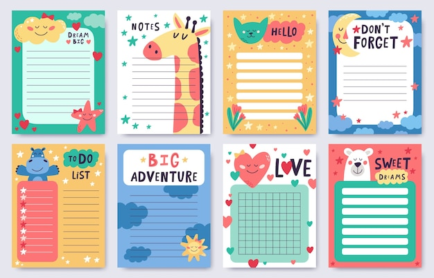 Collection of childish planners