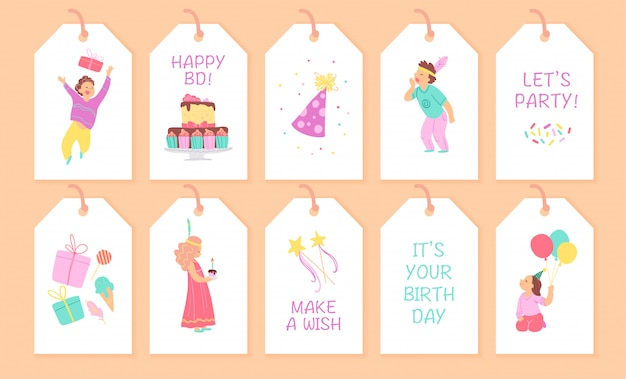 Collection of children birthday party tags. flat cartoon style.