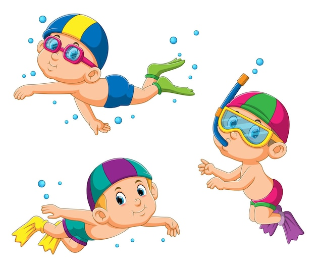 The collection of the children diving under the water