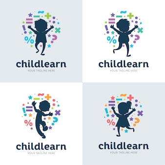 Collection of children learning set design template
