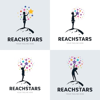Collection of children reaching star logo set