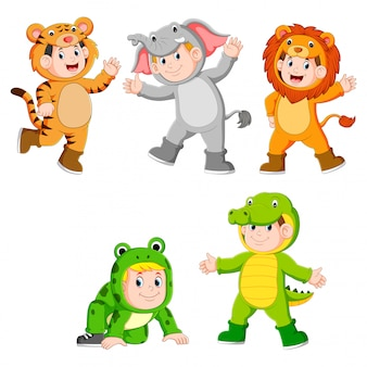 Collection children wearing cute wild animal costumes