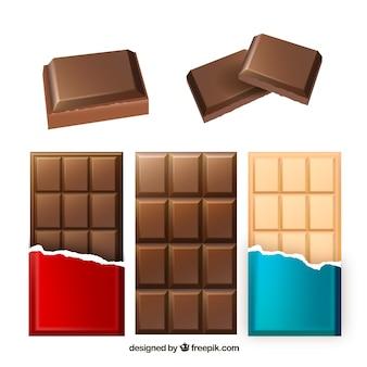 Collezione di barrette di cioccolato in stile realistico
