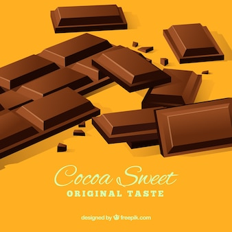 Collection of chocolate bars in realistic style