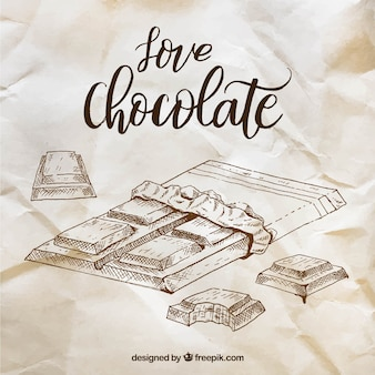 Collection of chocolate bars in sketch style