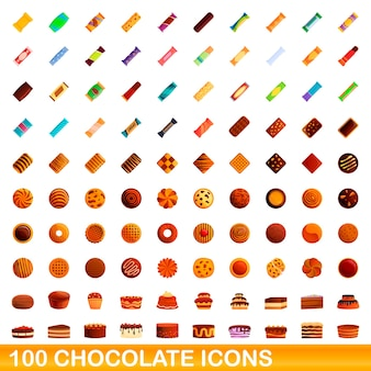 Collection of chocolate icons isolated on white