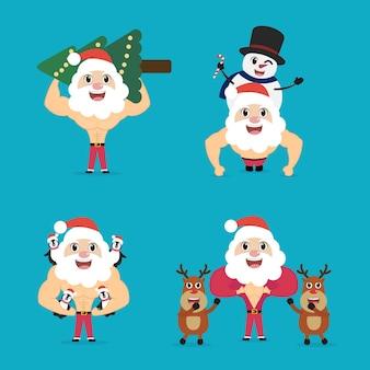 Коллекция рождества и нового года с дедом морозом и другом