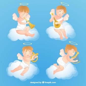 Collezione di angeli di natale con strumenti musicali