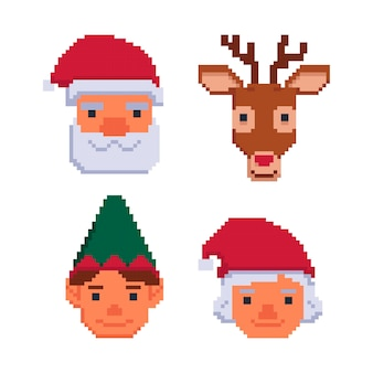Collection of christmas avatars isolated on a white backgroundvector illustration in pixel art