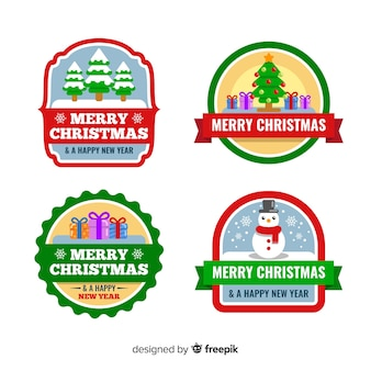 Collection of christmas badge in flat design