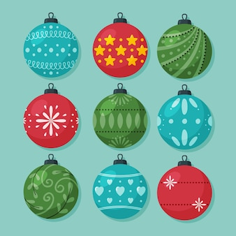 Collection of christmas ball ornaments