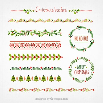Collection of christmas borders Free Vector