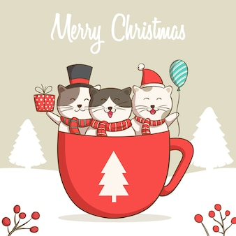 Collection of christmas cats, merry christmas illustrations of cute cats in the coffee or chocolate cup