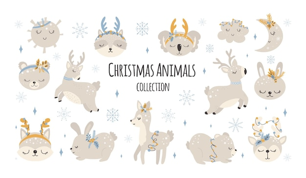 Collection of christmas cute animals merry christmas illustrations of bear bunny with accessories