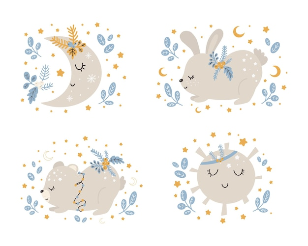 Collection of christmas cute animals, merry christmas illustrations of bear, bunny with winter accessories. scandinavian style on a white background.