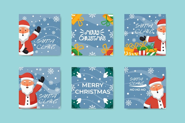 Collection of christmas day posts with santa claus