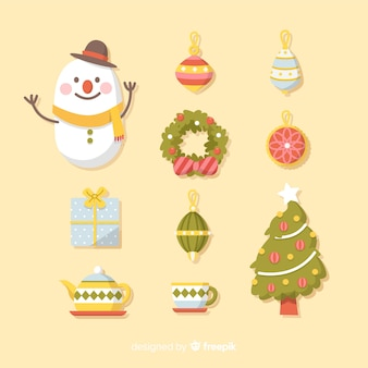 Collection of christmas element in flat design