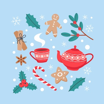 Collection of christmas elements, baking and hot drink