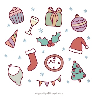 Collection of christmas elements and new year Free Vector