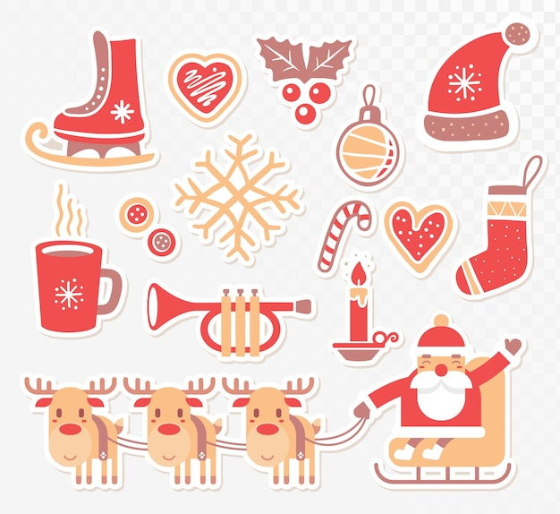 Collection of christmas elements on transparent background